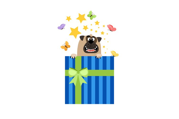 Dog in present box greeting card example image 1