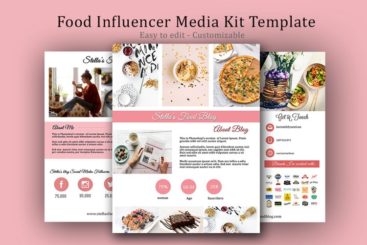 Influencer Food Media Kit Template - Sponsorships For Blogs