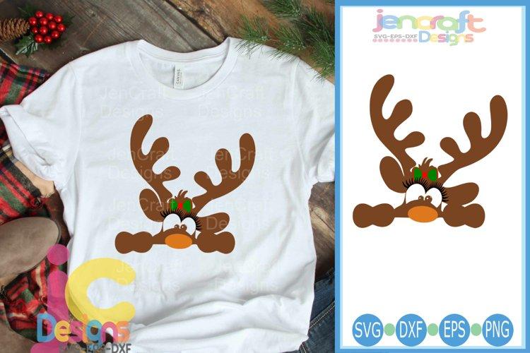Peeking Girl Reindeer SVG - Christmas SVG cut file