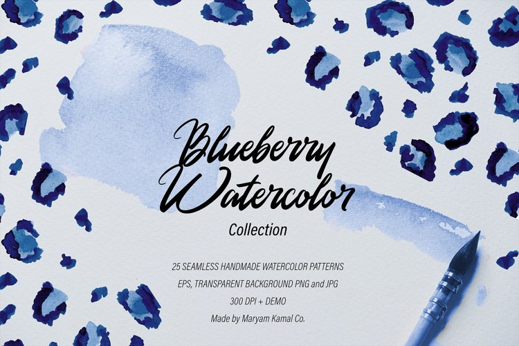 Blueberry Watercolor Pattern Collection example image 1