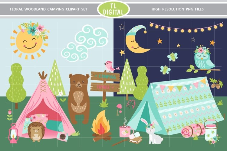 Floral Woodland Camping Clipart - 75 Illustrations - PNG example image 1