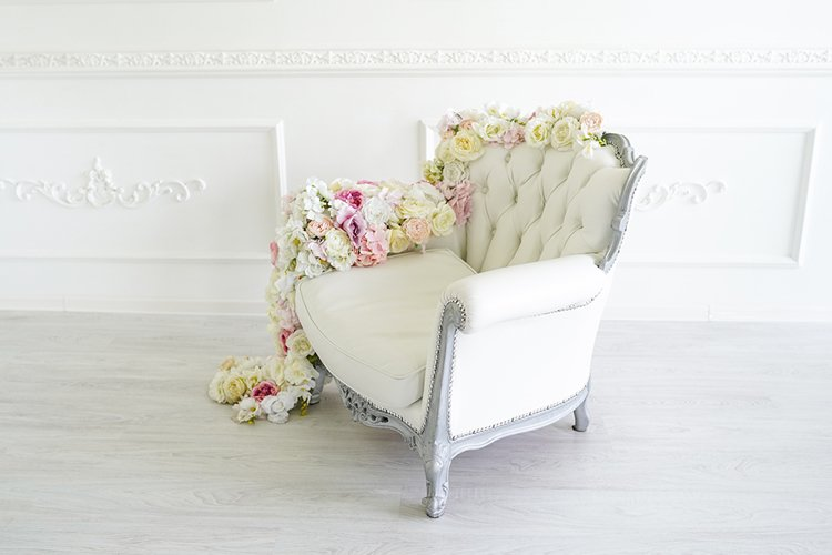 Armchair in white room. Beautiful interior example image 1