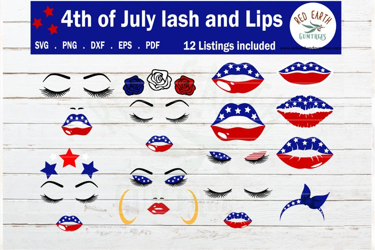 Fourth of July Bundle SVG,4th of July red blue stars lips