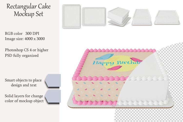 Edible Rectangular cake Mockup set. PSD object.