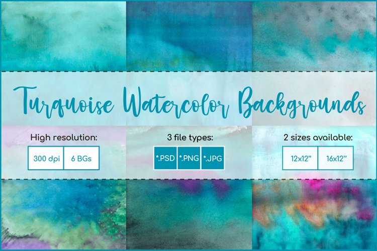 Turquoise Watercolor Background, Sublimation Watercolor example image 1
