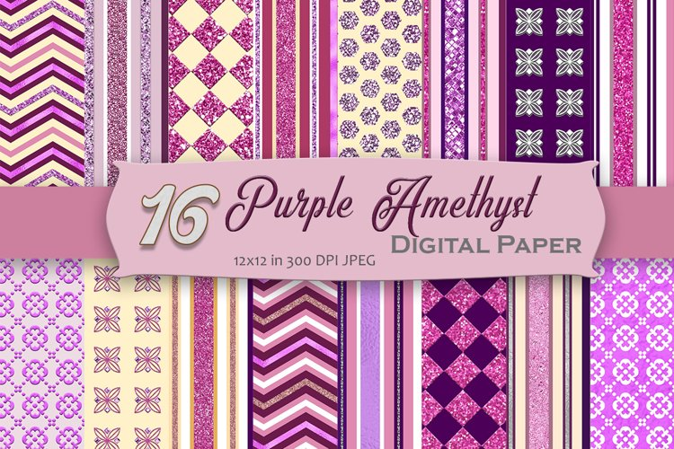 Purple Amethyst Digital Paper Pack example image 1