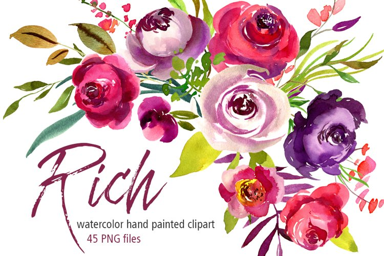 Rich watercolor flowers roses PNG example image 1