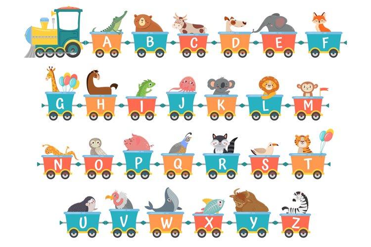 Alphabet train with animals. Cartoon animal illustration in example image 1