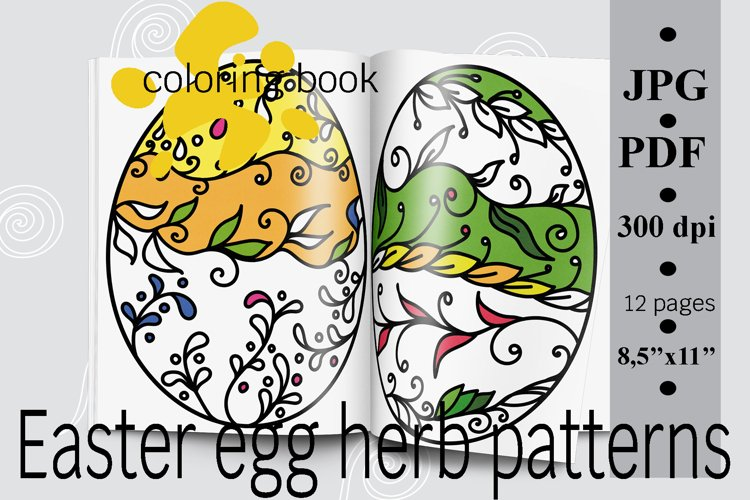 Easter egg herb patterns coloring book PDF printable example image 1