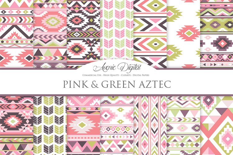 Pink and Green Boho Seamless Patterns example image 1