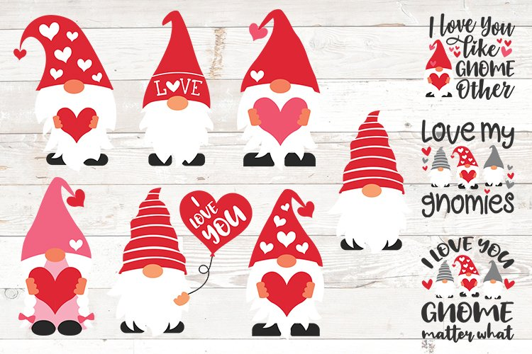 Valentine gnomes, valentines day gnomes sublimation png svg example image 1