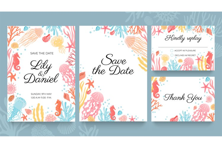 Sea wedding cards. Invitation to summer beach marriage party