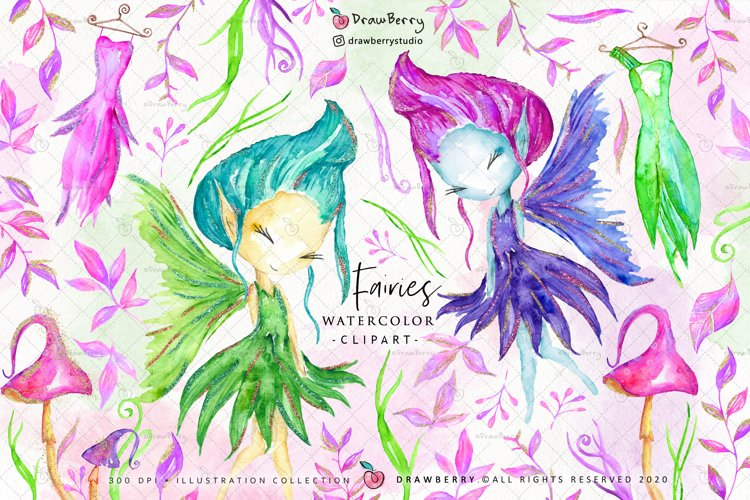 Watercolor Fairies Fairy Clipart PNG   Drawberry CP025