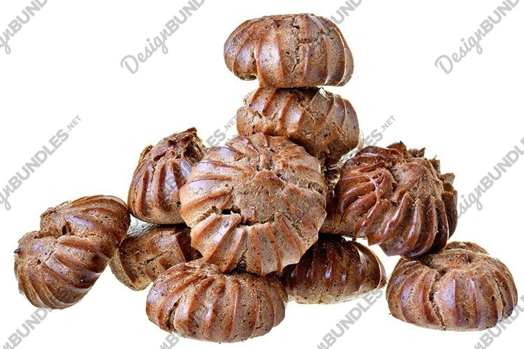 Stock Photo - Heap of freshly baked brown eclairs isolated example image 1