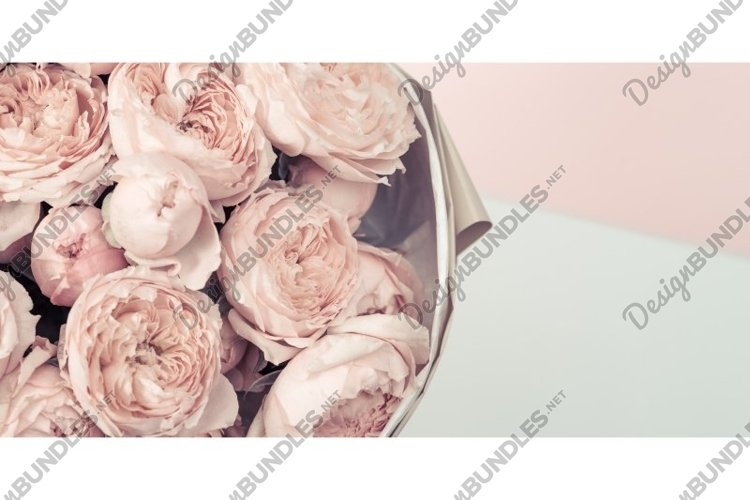 Bouquet flowers of peony roses, pink color, banner example image 1
