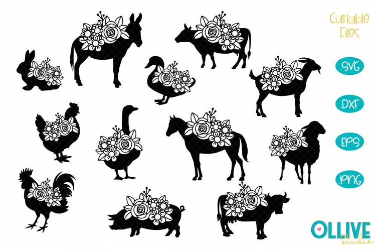 Floral Farm Animals SVG Bundle example image 1