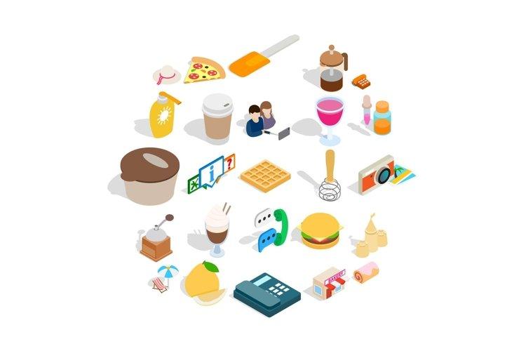 Tasty food icons set, isometric style example image 1