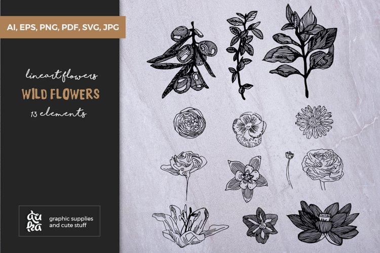 Valentine SVG Cut Files - Lineart Wild Flowers