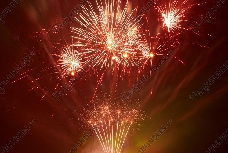 Beautiful fireworks on the black sky background example image 1