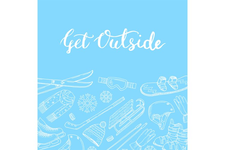 Vector hand drawn winter sports equipment example image 1