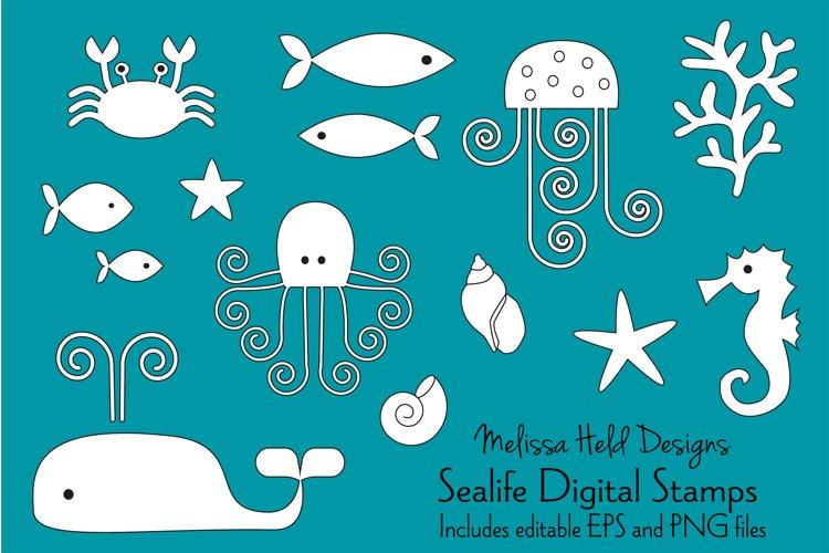 Sea Life Digital Stamps Clipart