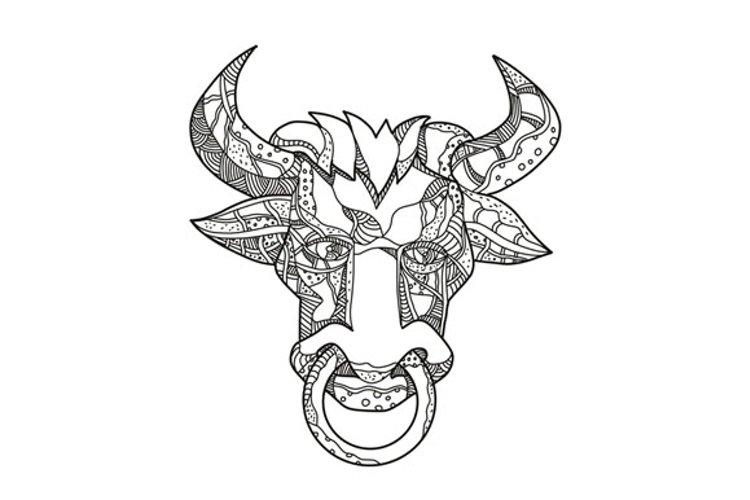 Pinzgauer Bull Head Front Doodle Art example image 1