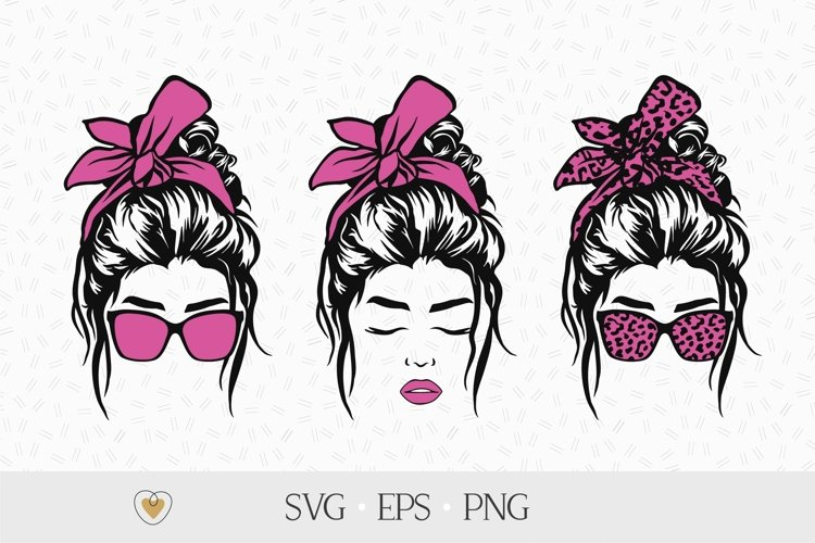 Messy bun svg, Girl with leopard bandana and glasses png