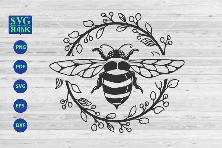 Bee Svg file, bumblebee svg, bee with flower frame