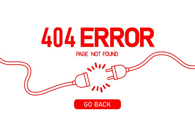 404 error banner. Loss connection. Electrical plug example image 1