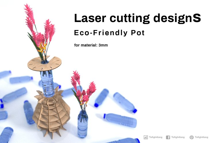 Eco friendly pot- laser cutting file example image 1