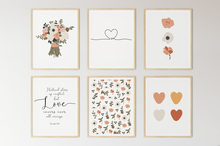 Set of 6 flower prints, Digital love posters, Birthday gift example image 1