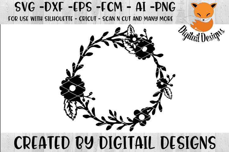 Flower Monogram Frame SVG - png - eps - dxf - ai - fcm example image 1