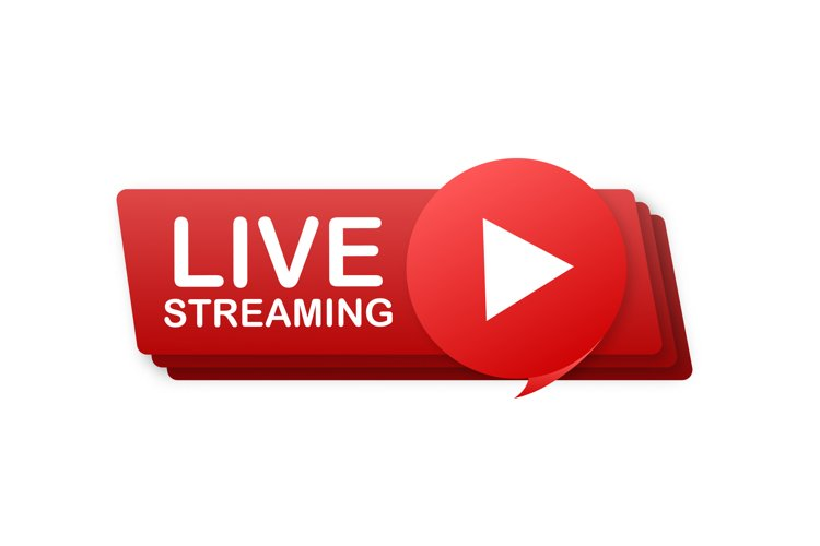 Live streaming flat logo - red vector design element with pl