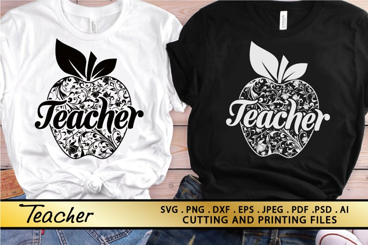 Teacher SVG PNG EPS DXF Files for Cutting and Printing example image 1