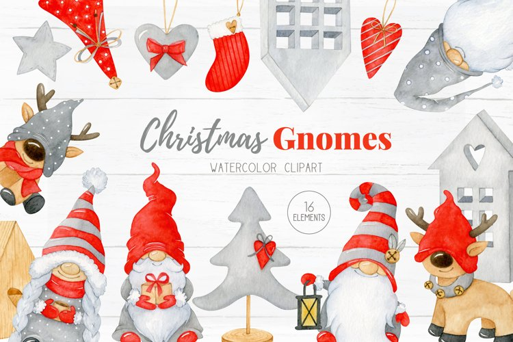 Christmas Gnomes Clipart, Christmas watercolor graphics example image 1