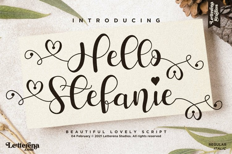 Hello Stefanie - Beautiful Lovely Script Font example image 1