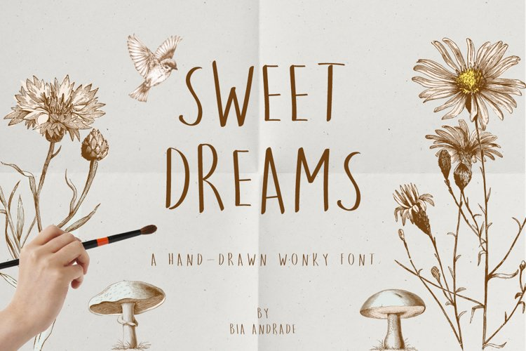 Sweet Dreams a hand-drawn wonky font example image 1