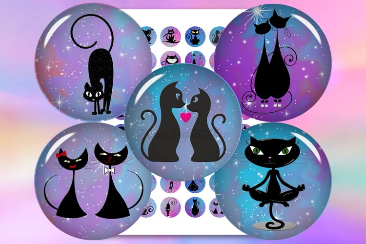 Cats Silhouette,Digital Collage Sheet,Cats Circle,Silhouette example image 1
