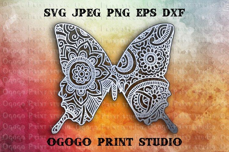 3D Layered Butterfly Mandala Svg, Zentangle SVG, Moth Svg