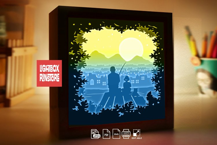 #229 Fishing with dad. Super Dad 3D Shadow box Template