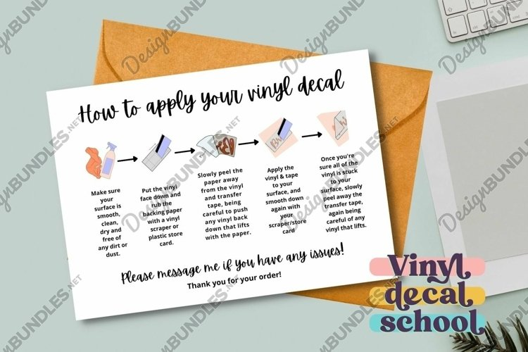 Vinyl Decal Instructions Printable Card With Illustrations