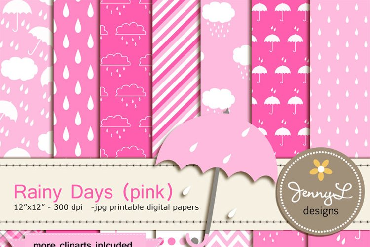 Umbrella Digital papers and Clipart, Rainy Day, Rain, Cloud for Birthday, Baby Girl Shower, Scrapbooking Paper Party Theme, Pink example image 1