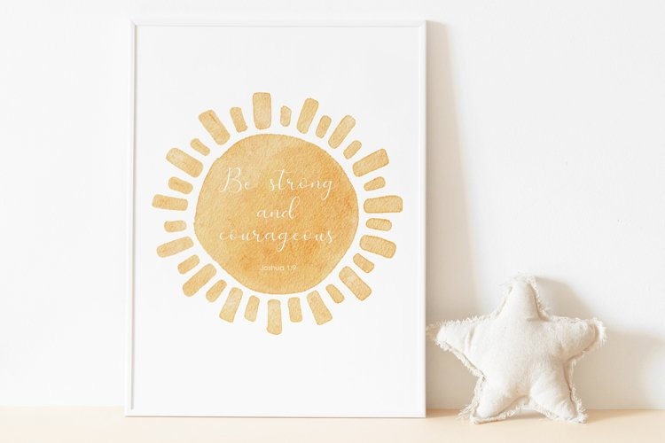 Watercolor Sun PRINT, Nursery Wall Art, Scripture Verse Art example image 1