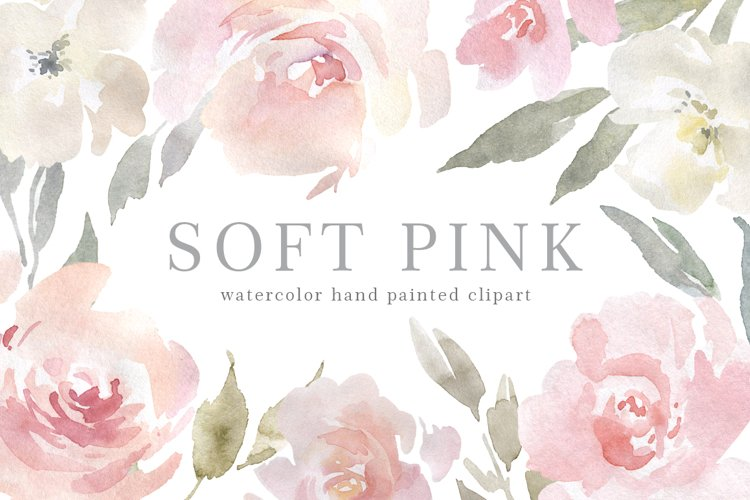 Blush Pink Watercolor Flowers, Bouquets, Wreath PNG example image 1