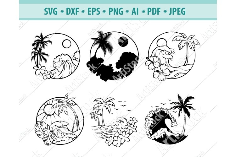 Hawaiian border Svg, Tropical frame svg, Beach Png, Eps, Dxf example image 1