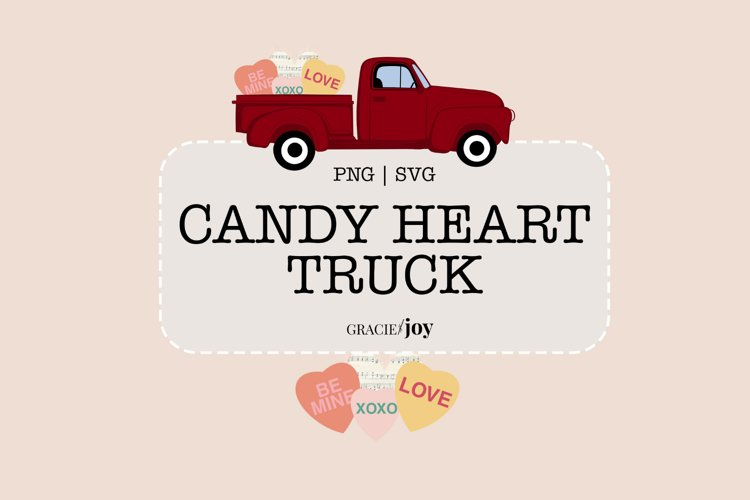 Candy Heart Truck SVG and PNG