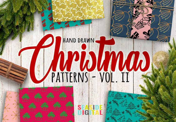 Hand Drawn Christmas Patterns II example image 1