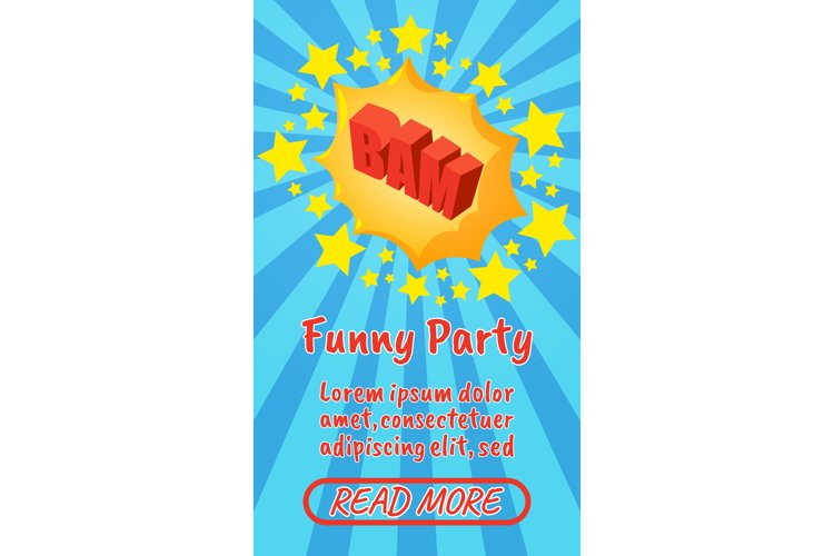 Funny party concept banner, comics isometric style example image 1