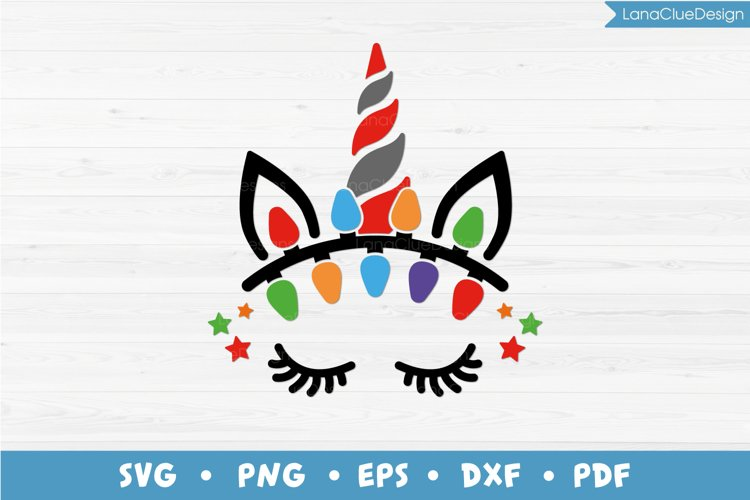 Unicorn Face with Christmas Lights SVG PNG DXF EPS PDF example image 1
