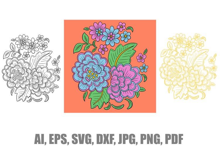 Oriental Floral Coloured and Outlined Art Illustration SVG
